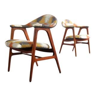 Danish Modern Side Chairs in Southwestern Print, Denmark For Sale