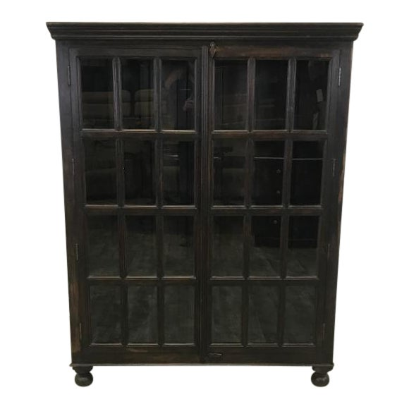 Crate & Barrel Wood Glass Door Wall Unit For Sale