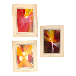 Set of 3 New York Worlds Fair Spin Art Abstract Paintings For Sale