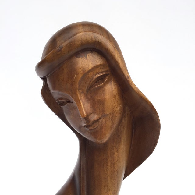 Art Deco Art Deco Style Hand Carved Wooden Female Bust For Sale - Image 3 of 8
