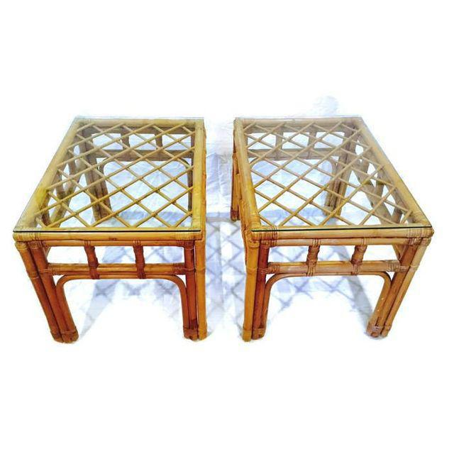 Vintage Bamboo Fretwork End Tables Glass Top Set - a Pair - Image 7 of 7