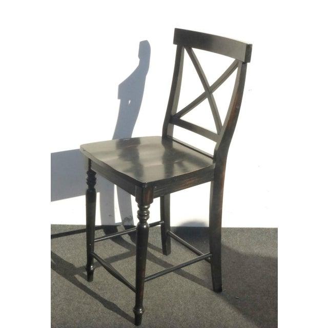 Black Modern Wood Bar Stools - Set of 4 - Image 7 of 11