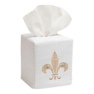 Beige Fleur-De-Lis Tissue Box Cover in White Linen & Cotton, Embroidered For Sale