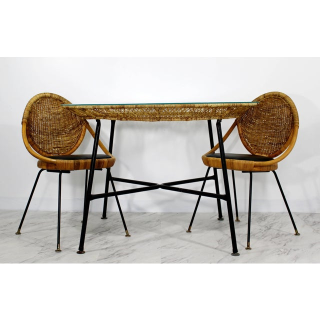 1960s Mid-Century Modern Danny Fong Rattan and Iron Patio Dining Set - 3 Pieces For Sale - Image 10 of 10