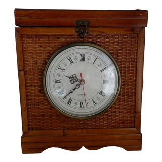 1970s Country Bamboo/Reed Clock Box For Sale