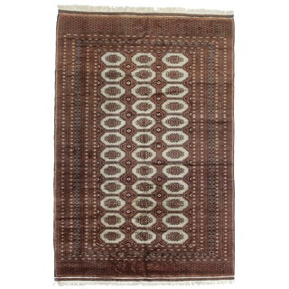 Vintage Hand Knotted Wool Pakistani Bokara Rug - 6′3″ × 9′ For Sale