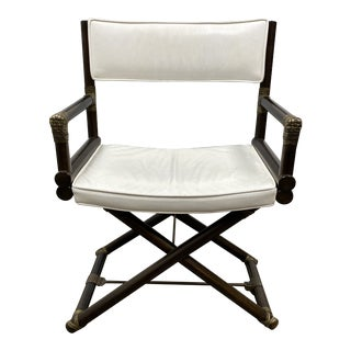 McGuire Mid 20th Century Leather Directors Chair For Sale