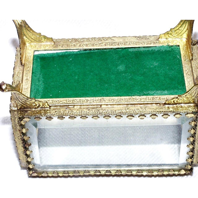 Gold 19th Century French Beveled Glass and Brass Jewel-Trinket Box For Sale - Image 8 of 9
