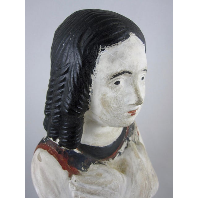 Figurative 19th Century Pennsylvania Hand-Painted Folk Art Chalkware Female Bust For Sale - Image 3 of 9