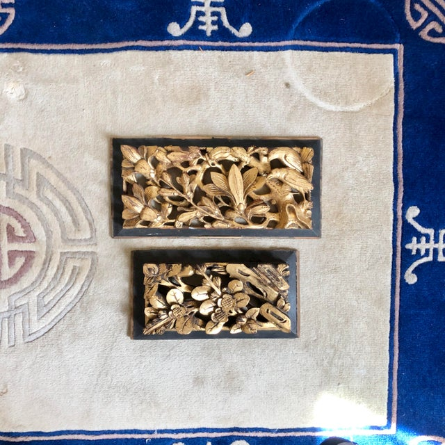 Antique Chinese Carved Giltwood Panels- a Pair For Sale - Image 9 of 9
