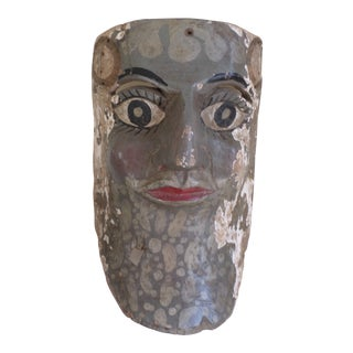 Antique Mexican Hand-Carved and Painted Wooden Mask For Sale
