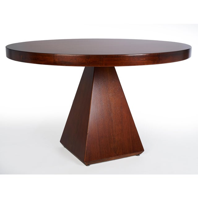 1960s Vintage Vittorio Introini for Saporiti Italian Geometric Walnut Dining Table For Sale In New York - Image 6 of 6