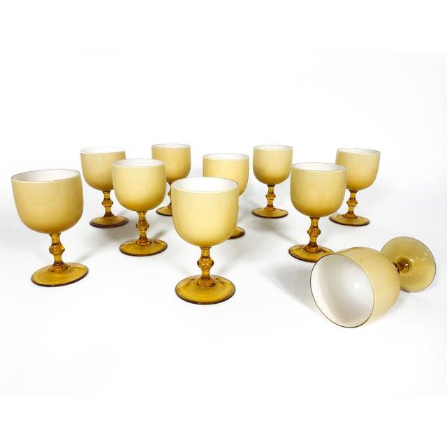 Carlo Moretti Vintage Carlo Moretti Butterscotch Cased Glass Wine Glasses - Set of 10 For Sale - Image 4 of 9