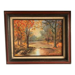 Vintage Autumn Landscape Artisan Painting For Sale