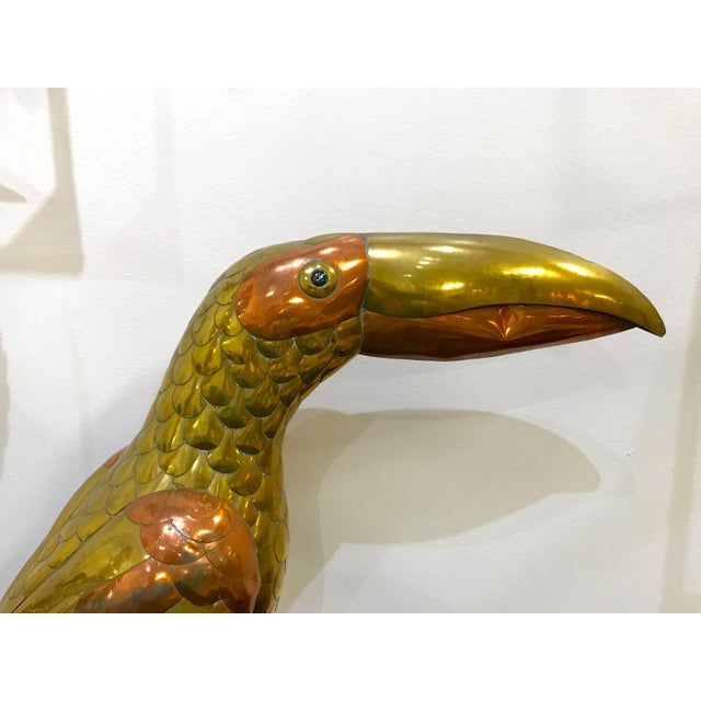 Sergio Bustamante 1970s Vintage Sergio Bustamante Brass and Copper Toucan For Sale - Image 4 of 6