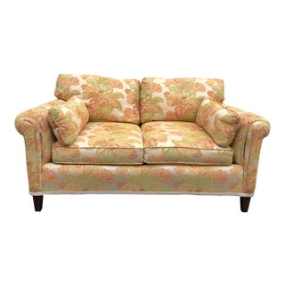 1970s Traditional Custom Made Leaf Pattern Loveseat