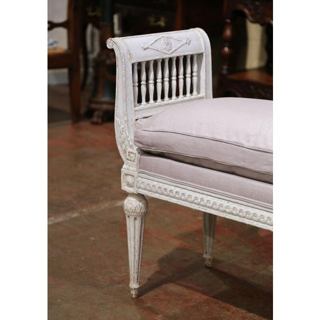 19th Century French Directoire Carved Painted Upholstered Banquette With Back For Sale - Image 4 of 9