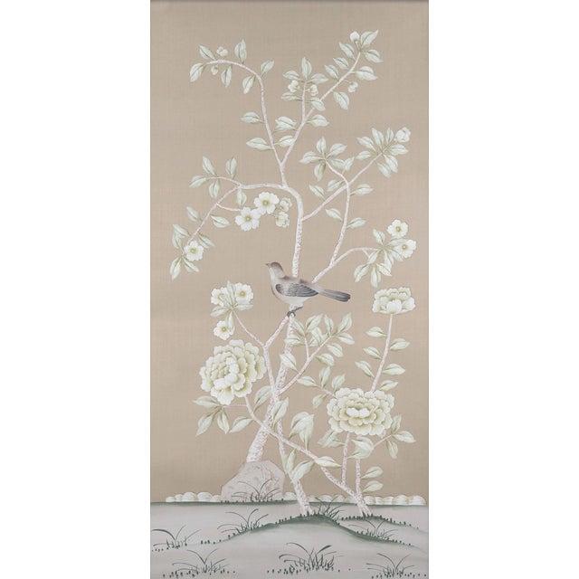 "Chinoiserie Jardins en Fleur ""Donnington"" Chinoiserie Painting on Silk by Simon Paul Scott - a Pair For Sale - Image 3 of 6"