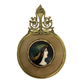 Antique Gilt Framed Enamel Portrait Plaque For Sale