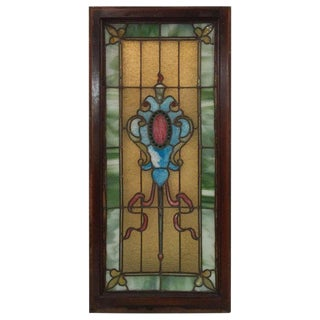 19th Century Antique Stained Glass Panel For Sale