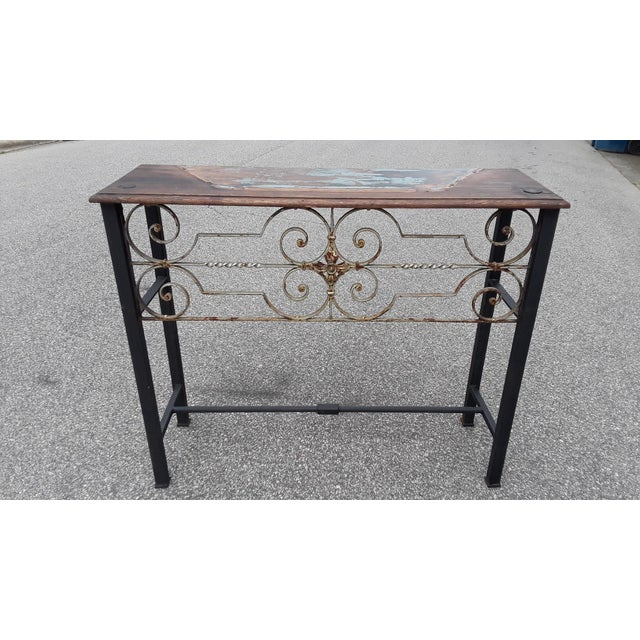 Minimalism Antique European Hand Wrought Iron Transom Console For Sale - Image 3 of 7