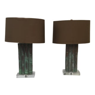 Arteriors Tanner Kenzie Lucite & Bamboo Lamps with Shades - A Pair For Sale
