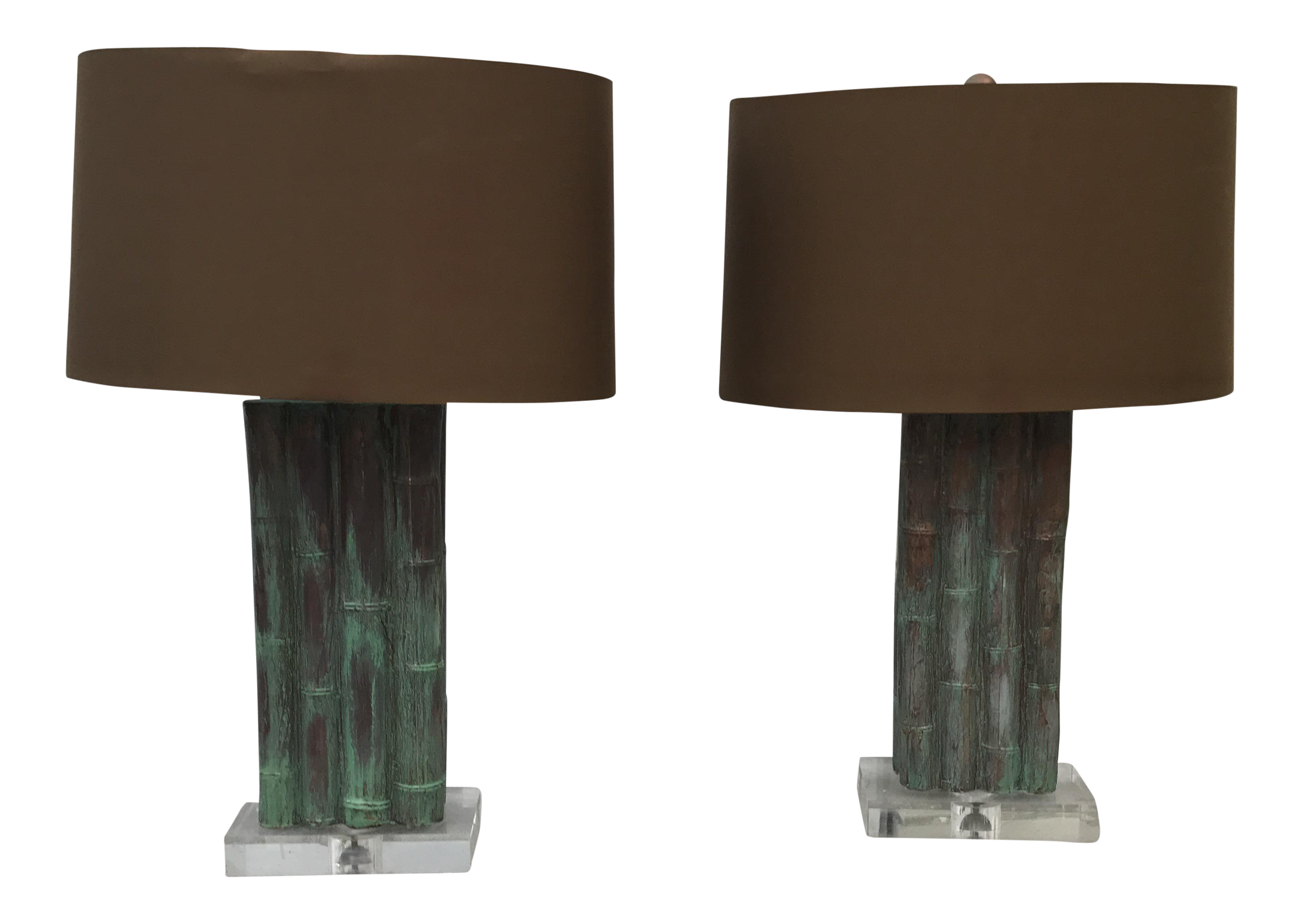 Arteriors Tanner Kenzie Lucite U0026 Bamboo Lamps With Shades   A Pair