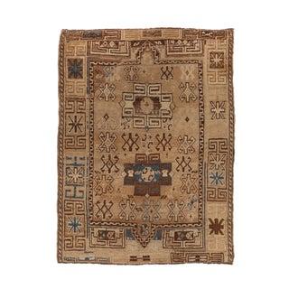 1920s Turkish Kazak Geometric Beige and Blue Wool Rug For Sale