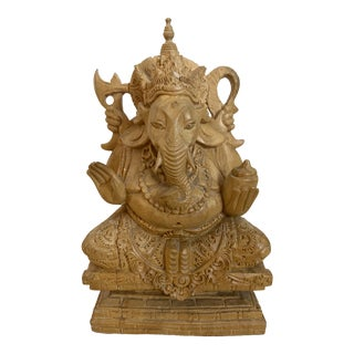 Wooden Ganesh Sculpture Handcrafted in Bali For Sale