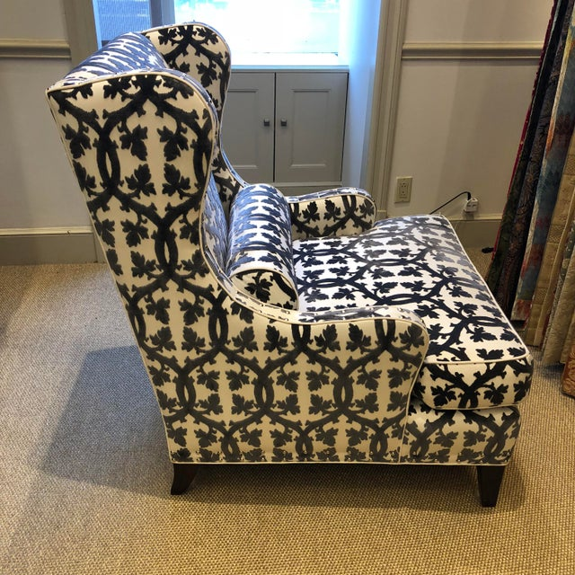 Early 21st Century Traditional Black and White Textile Wingback Chair For Sale - Image 5 of 8