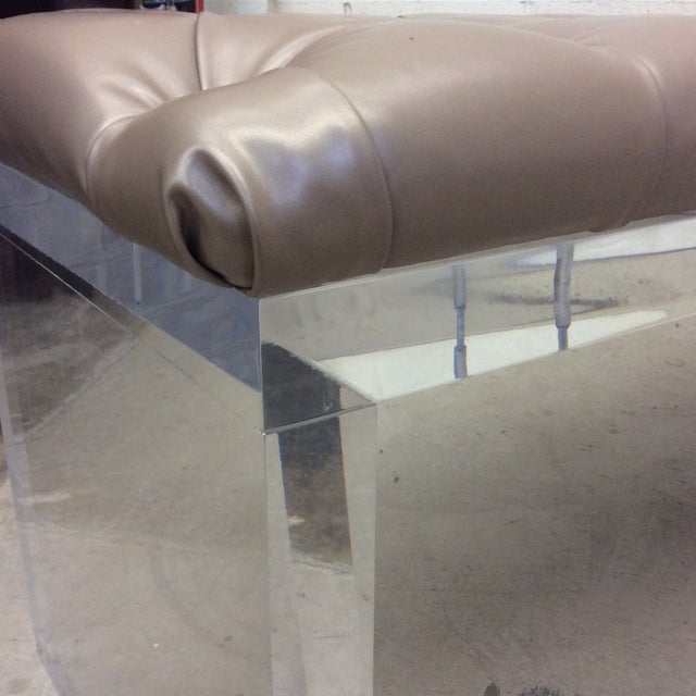 Tan Monumental Leather Tufted Lucite Bench For Sale - Image 8 of 11