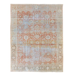 Antique Sultanabad Handmade Floral Pattern Designed Red Wool Rug For Sale