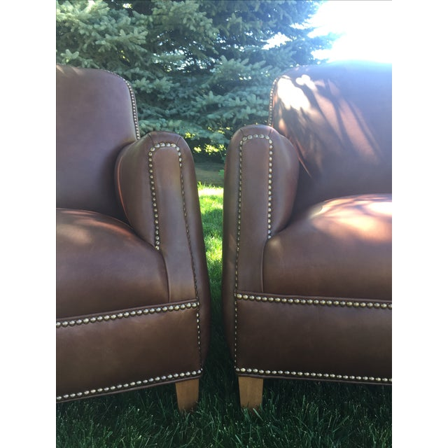 Wood Distressed Leather Chairs - A Pair For Sale - Image 7 of 11