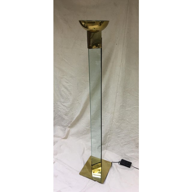 Gold Italian Brass & Glass Floor Lamp For Sale - Image 8 of 8