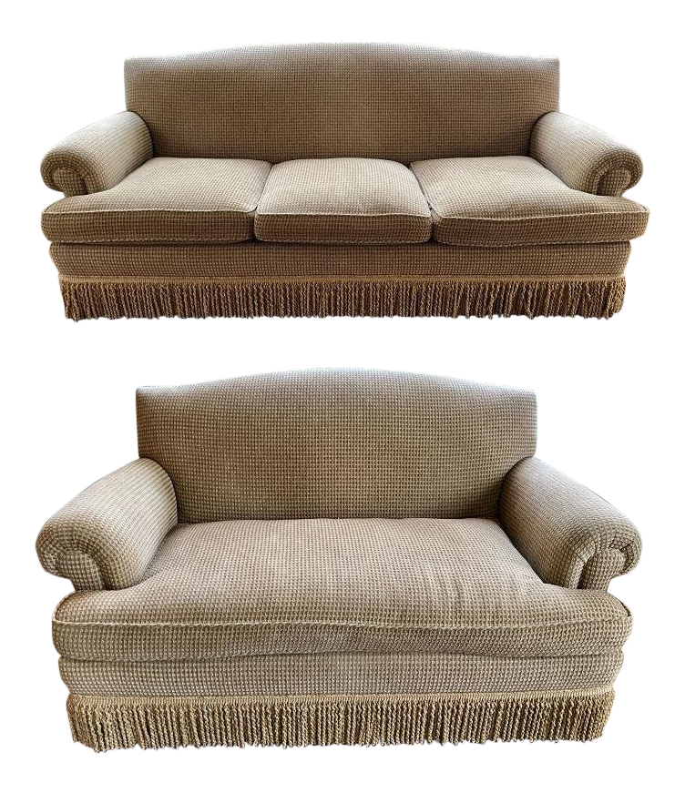 Brunschwig Fils Oxford Gold Chenille Fabric Sofa Loveseat A