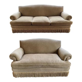 Brunschwig & Fils Oxford Gold Chenille Fabric Sofa & Loveseat - A Pair For Sale