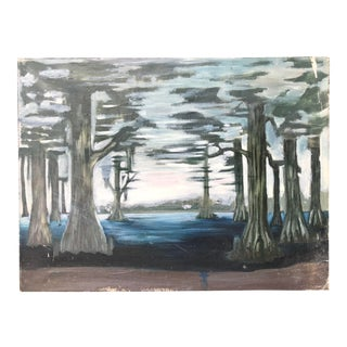 Southern Swamp Painting With Cypress Trees For Sale