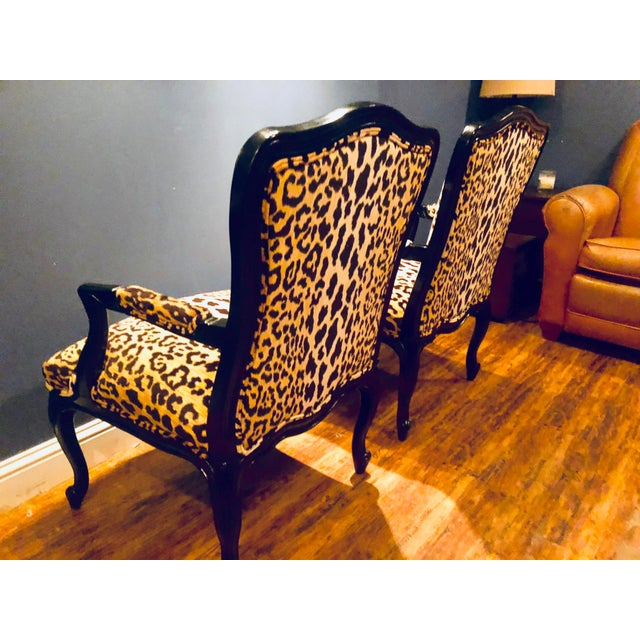 Black Lacquered Jamil Velvet Leopard Armchairs - A Pair For Sale - Image 11 of 14