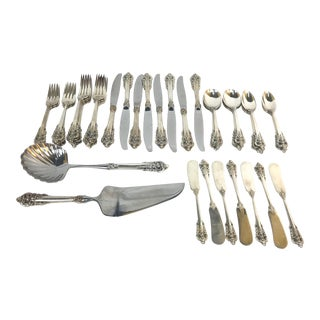 20th Century Baroque Sterling Silver Flatware - 48 Pieces For Sale