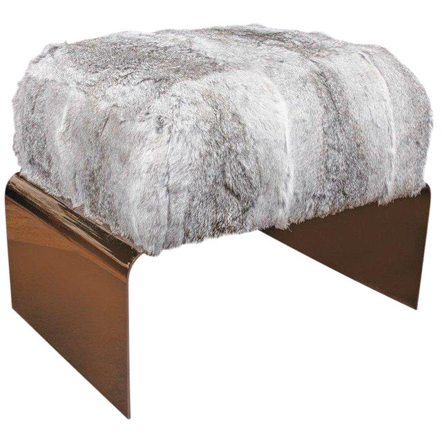 Luxury Accent Stool or Ottoman in Lapin Fur and Black Chrome For Sale - Image 4 of 10