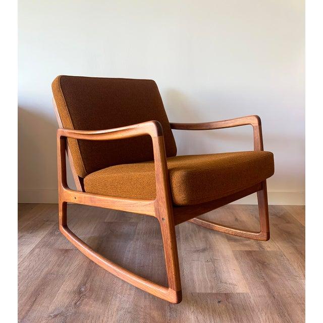 Cinnamon Restored Ole Wanscher for France and Sons Danish Modern Teak Frame Rocker For Sale - Image 8 of 8