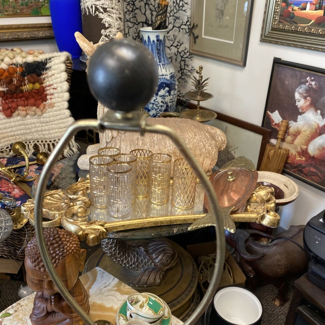Greek Key Tole Table Lamp With Lion Details For Sale In Atlanta - Image 6 of 9