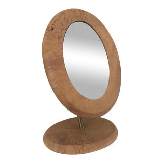 Mid-Century Modern Burlwood & Brass Tilt Make-Up Mirror For Sale