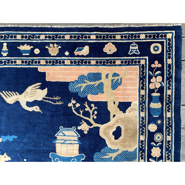 Antique 1910s Blue Chinese Pictorial Rug- 5′ × 8′ For Sale - Image 4 of 13