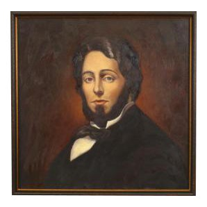 American Victorian style oil painting of Herman Melville in a dark stained frame (part of a series of American 19th Cent writers) (© Troubetzkoy Paint