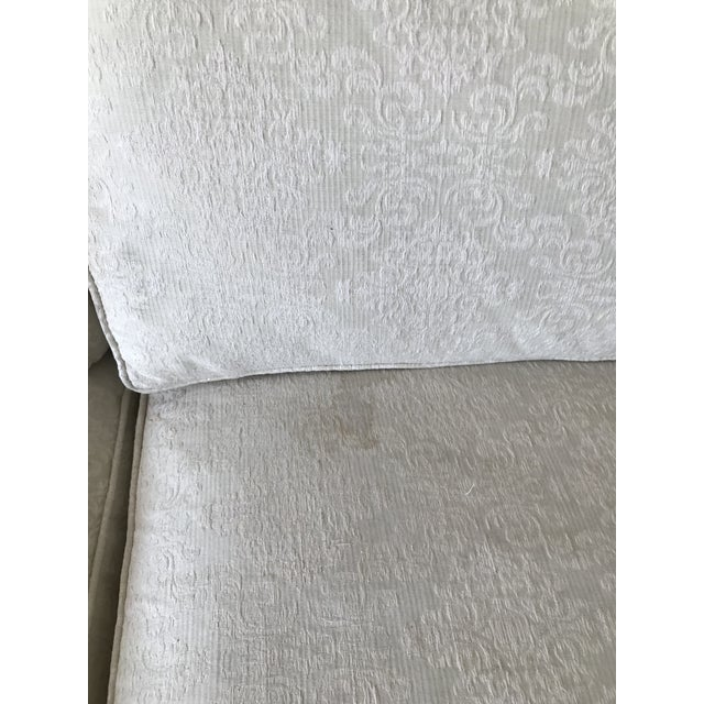 Textile Mid-Century Cream Jacquard Upholstered Sofa For Sale - Image 7 of 8