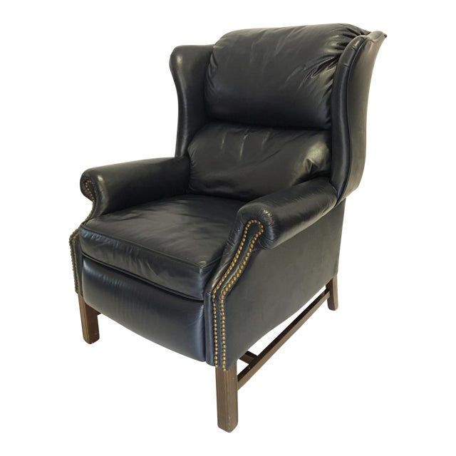 Lane Navy Leather Mid-Century Wingback Recliner | Chairish