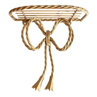 Vintage Twisted Gold Bow Wall Shelf For Sale