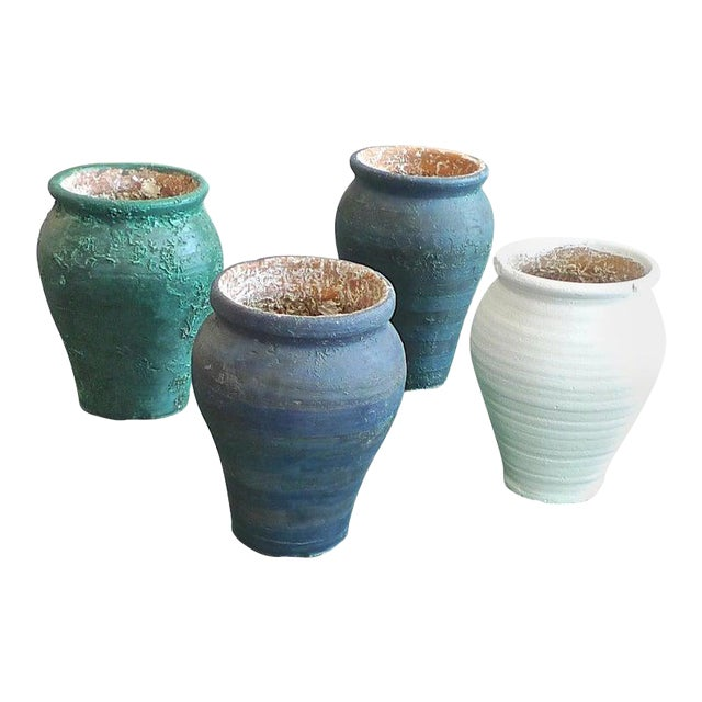 19th Century French Provence Terra-Cotta Hand Painted Pots - Set of 4 For Sale