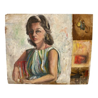 1940s Female Portrait Oil Painting on Board For Sale